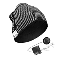 Anpress Wireless Bluetooth Beanie Hat Knitted Music Hat Built in Mic Stereo Speakers, Winter Warm Cap Hat Outdoor Sports, Skiing, Running, Skating, Walking
