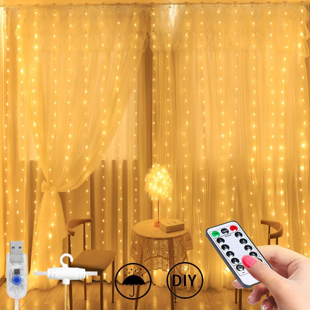 Curtain Fairy Lights 8 Modes with Remote Control (Warm White)WAS £11.98 NOW £5.94 w/code TOQPQPKT @ Amazon