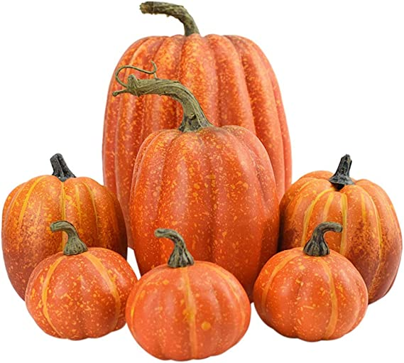 Amazon.com: Hzemci Simulation Pumpkin, 7PCS Christmas Thanksgiving Simulation Pumpkin Decoration: Home & Kitchen