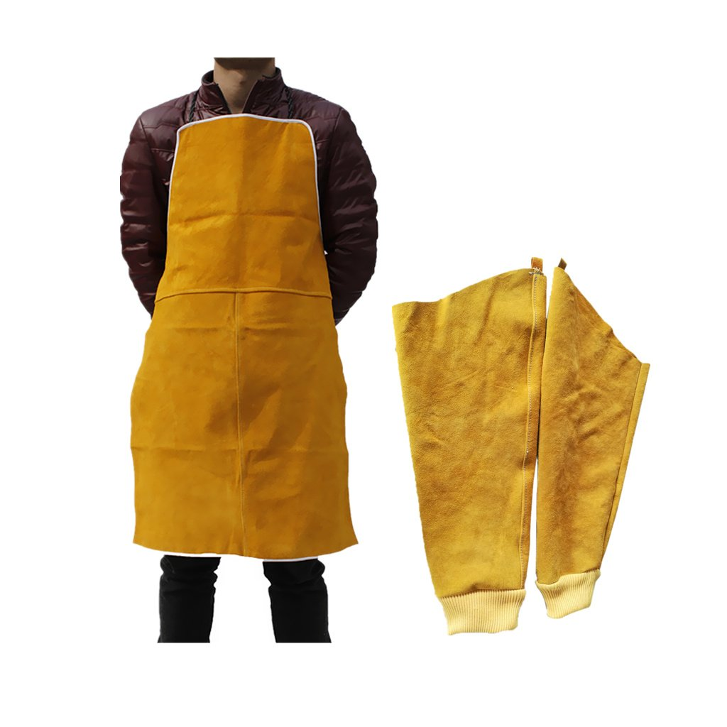Almencla Welder Apron Welding Protective Clothing Heat Insulation Bib With Sleeves by Almencla (Image #3)