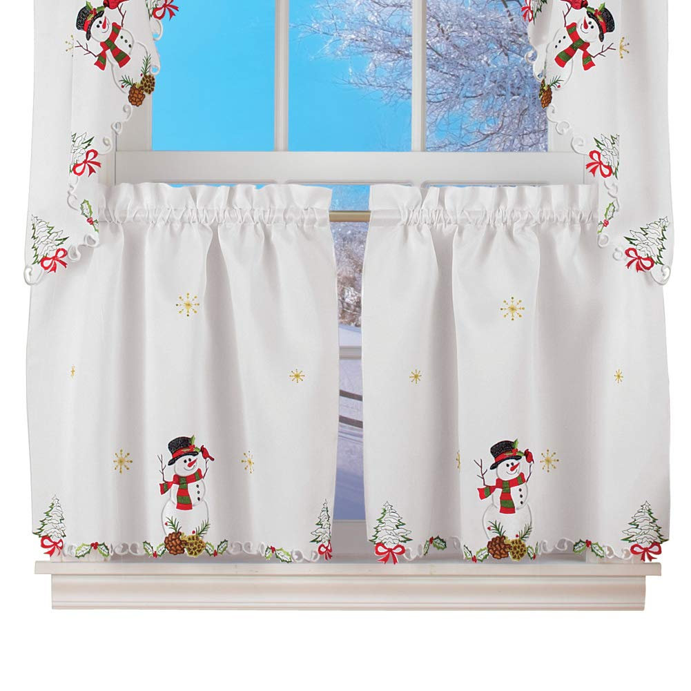 "Collections Etc Snowman Cardinal Window Curtain Christmas Decoration, 24"" L Tiers"