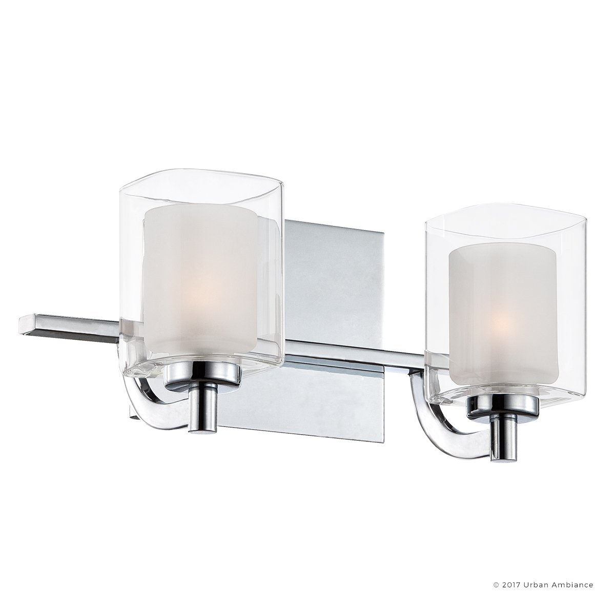 Luxury Modern Bathroom Vanity Light, Medium Size: 6''H x 13''W, with Posh Style Elements, Polished Chrome Finish and Sand Blasted Inner, Clear Outer Glass, G9 LED Technology, UQL2401 by Urban Ambiance