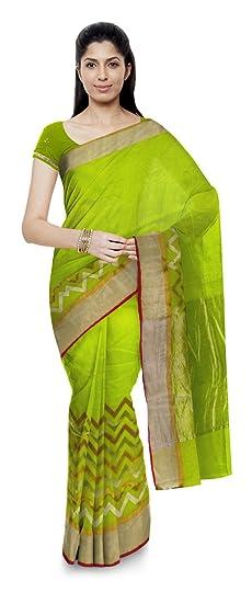 d02acbddf6cd3 Image Unavailable. Image not available for. Colour  Ravi Shankar Koli  Chanderi Handloom Cotton Silk Saree (Light Green)