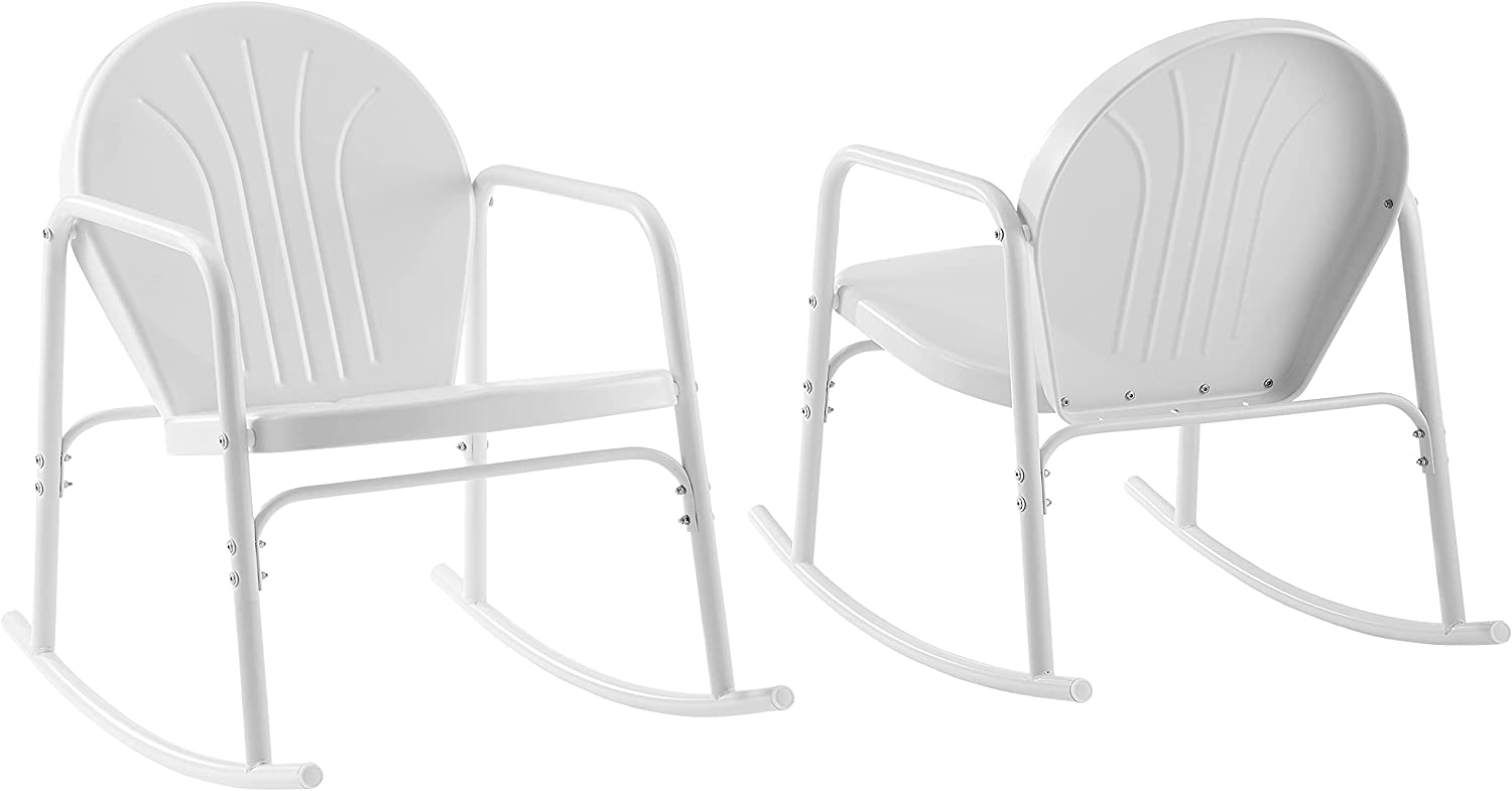 Crosley Furniture CO1013-WH Griffith Retro Metal Outdoor Rocking Chairs, White Gloss