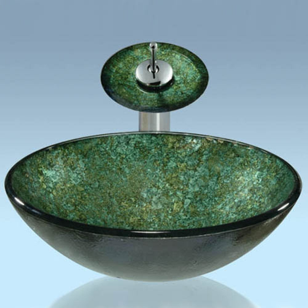 LightInTheBox Green Round Tempered Glass Vessel Sink with Waterfall Faucet ,Pop - Up Drain and Mounting Ring