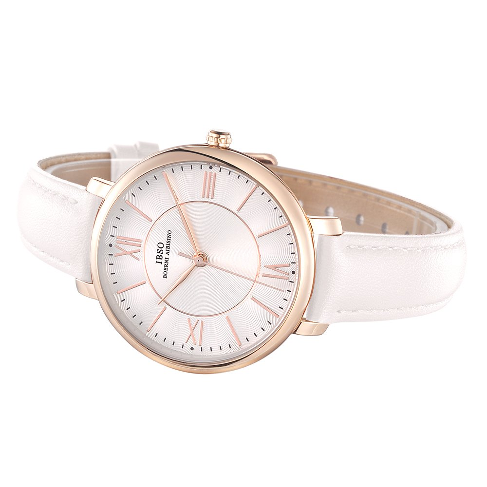 Amazon.com: IBSO Ladies Watches Leather Band Round Case Fashion Women Watches on Sale relojes Mujer (8240L-Beige): Watches