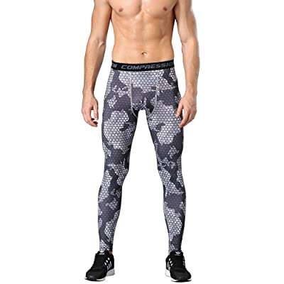 1Bests Men's Sports Camouflage Fitness Tights Running Quick-Drying Breathable Compression Pants