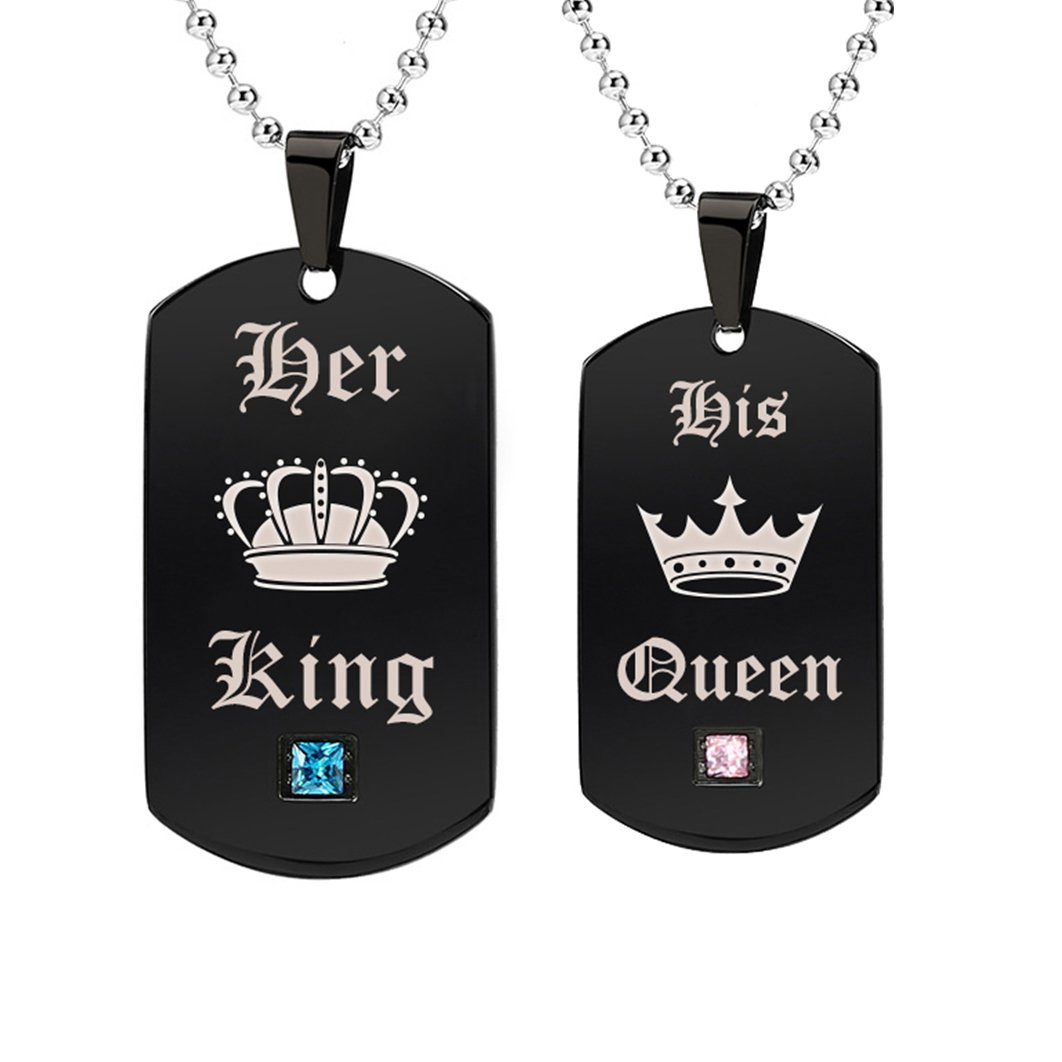 Gagafeel His Hers Couple Necklace Titanium Stainless Steel Pendant Crown Tag Queen & King Matching Set Gift for Lover (A pair)