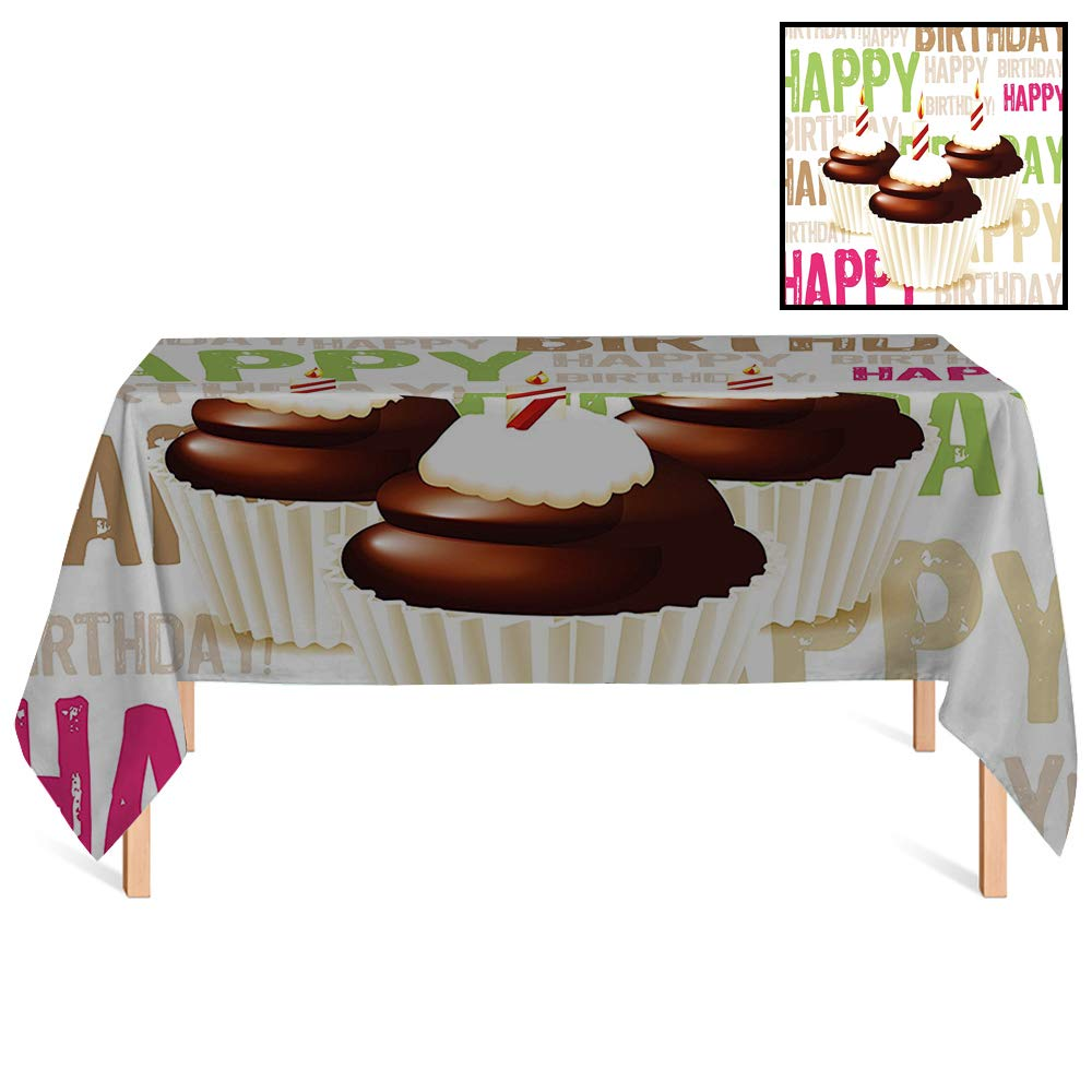 SATVSHOP Heavy Weight Cotton Canvas /60x140 Rectangular,Birthday rations Grunge Happy Birthday Pattern with Three Chocolate Cupcakes Candles ES for Wedding/Banquet/Restaurant.
