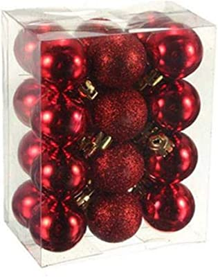 CAHEDSD 24Pcs Christmas Baubles Tree Plain Glitter Christmas Tree Decor Ball Baubles Ornament Blue/Silver/Black/Purple/Gold/Red/White Red