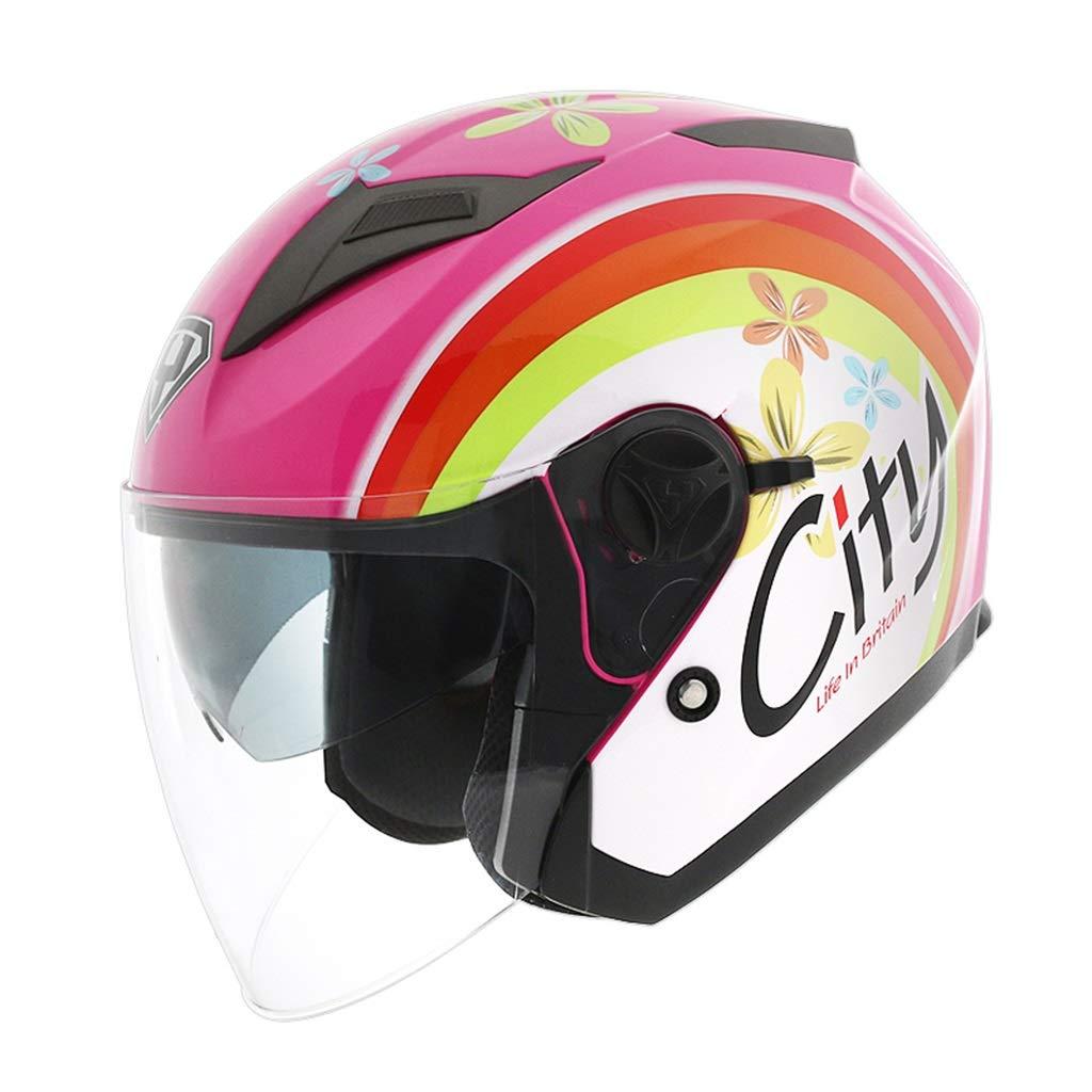IUYWL ABSハーフヘルメットヘルメット、ダブルレンズ日焼け防止ハーフヘルメット、多機能安全ヘルメット ヘルメット (Color : B, Size : XL) B X-Large