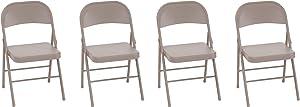 COSCO Steel Folding, Tan, 4-Pack Chair,