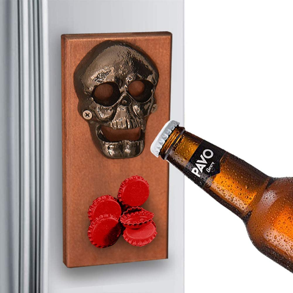 Modern Home Wall Mounted Bottle Opener With Cap Catcher Beer Pry New