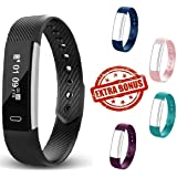 Fitness Activity Tracker Watch With 4 Extra Bands Included Pedometer Step Counter Sleep Monitor & Calorie Counter – IP67 Waterproof Smart Watch For Women Men & Children Black Purple Pink Teal Blue