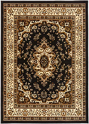 (Antep Rugs Kashan King Collection Himalayas Oriental Polypropylene Indoor Area Rug (Black/Beige, 8' x 10'))