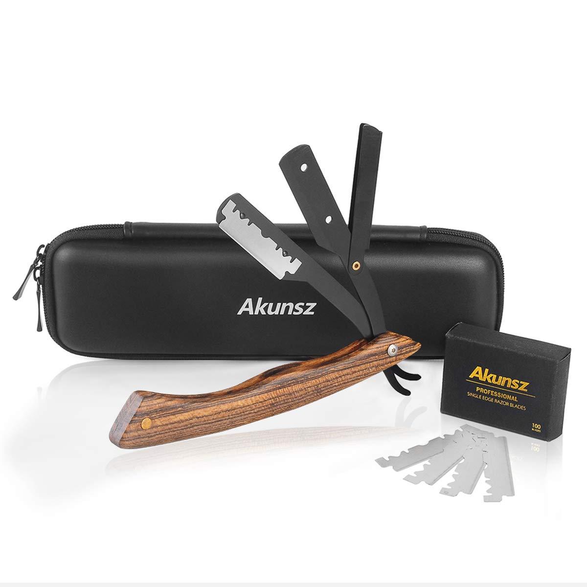 Straight Edge Razor AKUNSZ Professional Black Barber Straight Razor with 100 Single Edge Razor Blades and Barber Razor Case Garapa wooden Handle Ltd.