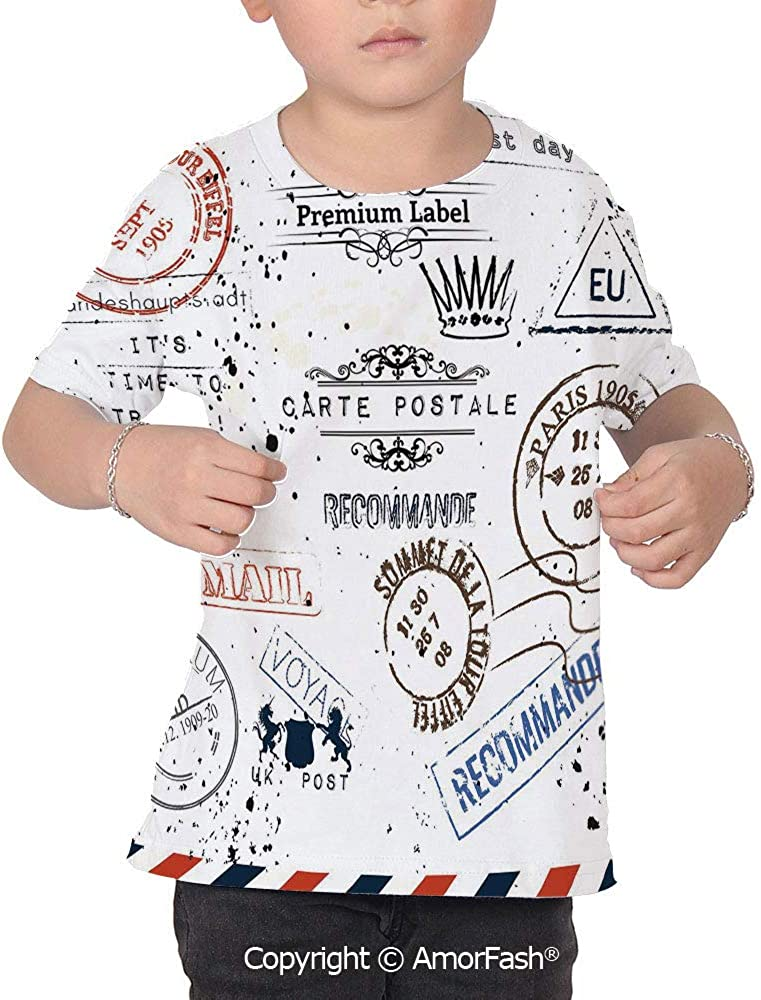 Vintage All Over Print T-Shirt,95/% Polyester,Childrens Short Sleeve T-ShirtRetr