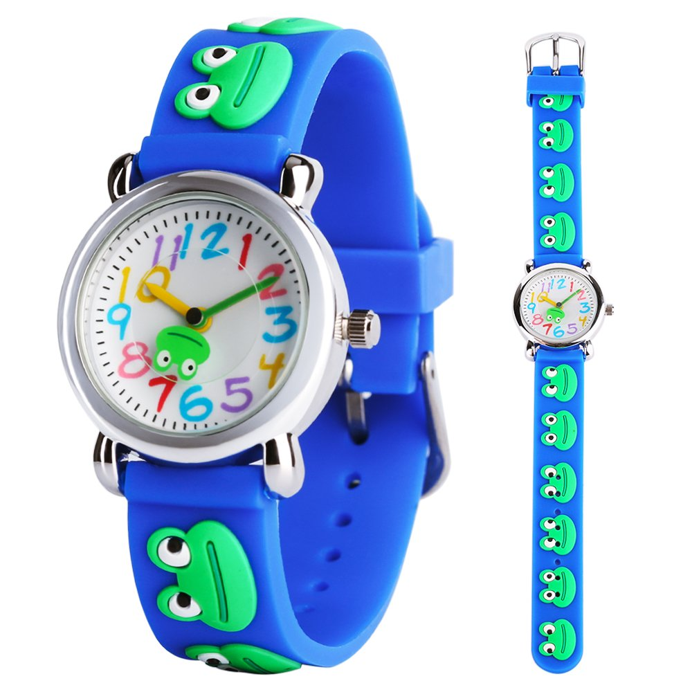 Kids Watch Boys Girls 3D Cute Cartoon Blue Frog Silicone Quartz Wrist Watches Children Time Teacher Learning Gift for Little Children Ages 3-12 by MILIYA