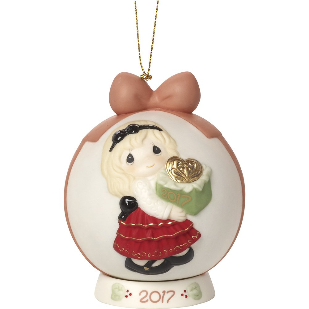 Precious Moments May The Gift Of Love Be Yours This Season Dated 2017 Bisque Porcelain Ball Ornament with Base 171003
