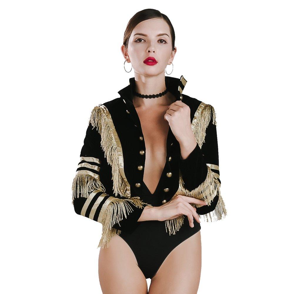 Missord Women O-neck long sleeve Golden tassels velvet buttons coat top Black Small