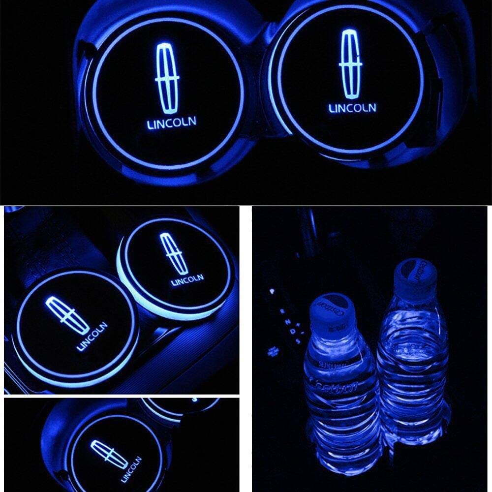 2PCS Cup Holder Light Mats LED Luminous Coasters Car Cup Holder Lights 7 Colors intelligent Smart Luminous Water Coaster Changing USB Mat for Peugeot