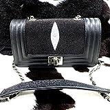 New 100% Genuine Chic Stingray Black Woman Shoulder Bag Handbag Tote Chain
