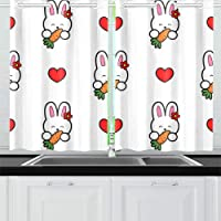 Rabbit with A Carrot and Heart Kitchen Curtains Window Curtain Tiers for Café, Bath, Laundry, Living Room Bedroom 26 X 39 Inch 2 Pieces