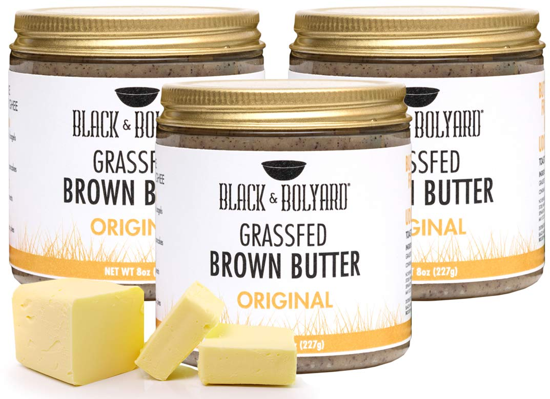 Black & Bolyard Original Brown Butter - Non-GMO, Sugar-free, Grass-fed Butter - Caramelized & Seasoned - Gluten Free Ghee Butter/Clarified Butter Alternative - 3 x 8 Ounces