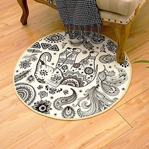 RuiHome 33″ Round Anti-Slip Coral Velvet Area Rug Floor Mat