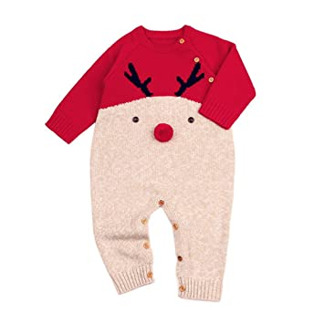 bb51fa951fad Vovotrade® Christmas Toddler Cute Patchwork Knitted Romper Infant ...