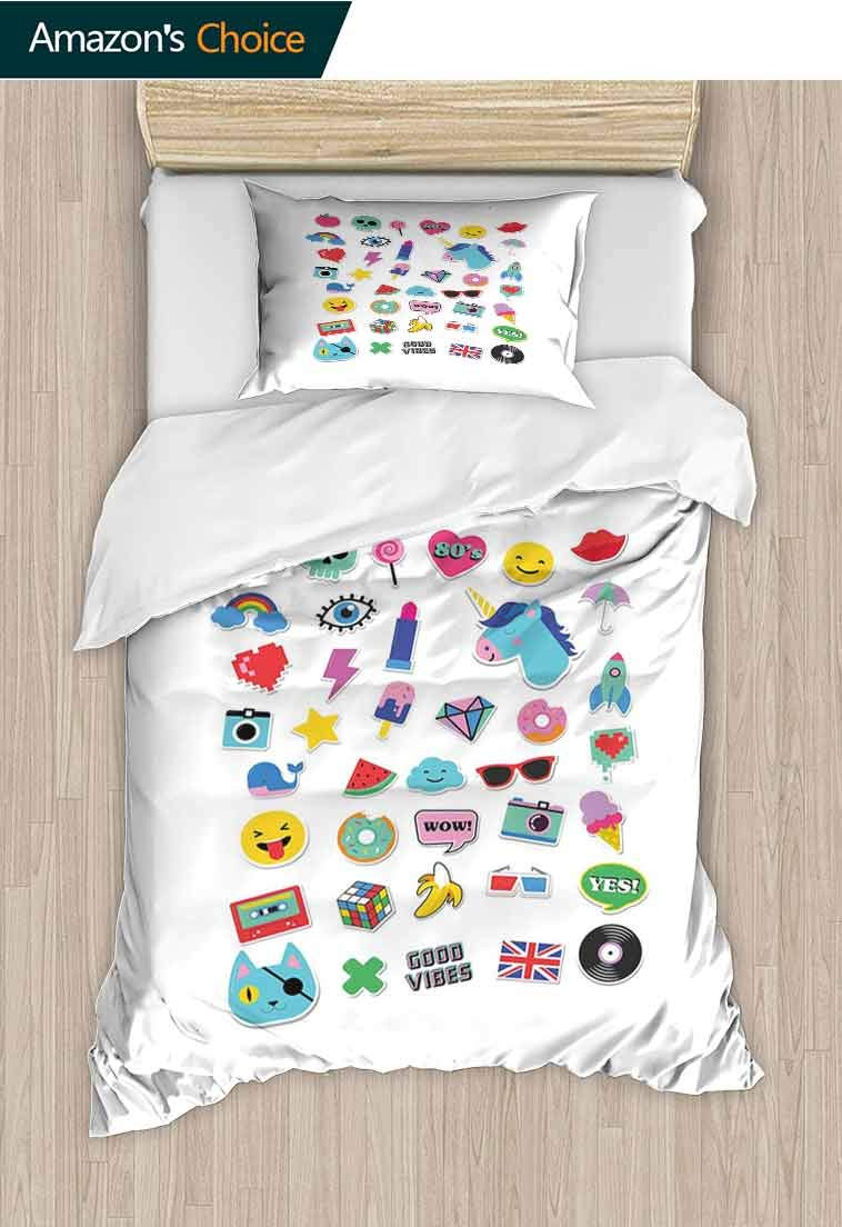 Emoji DIY Quilt Cover and Pillowcase Set, Pop Culture Elements Good Vibes Ice Cream Rocket Donut Star Cartoon Style Drawing, Reversible Coverlet, Bedspread, Gifts for Girls Women, 71 W x 79 L Inches