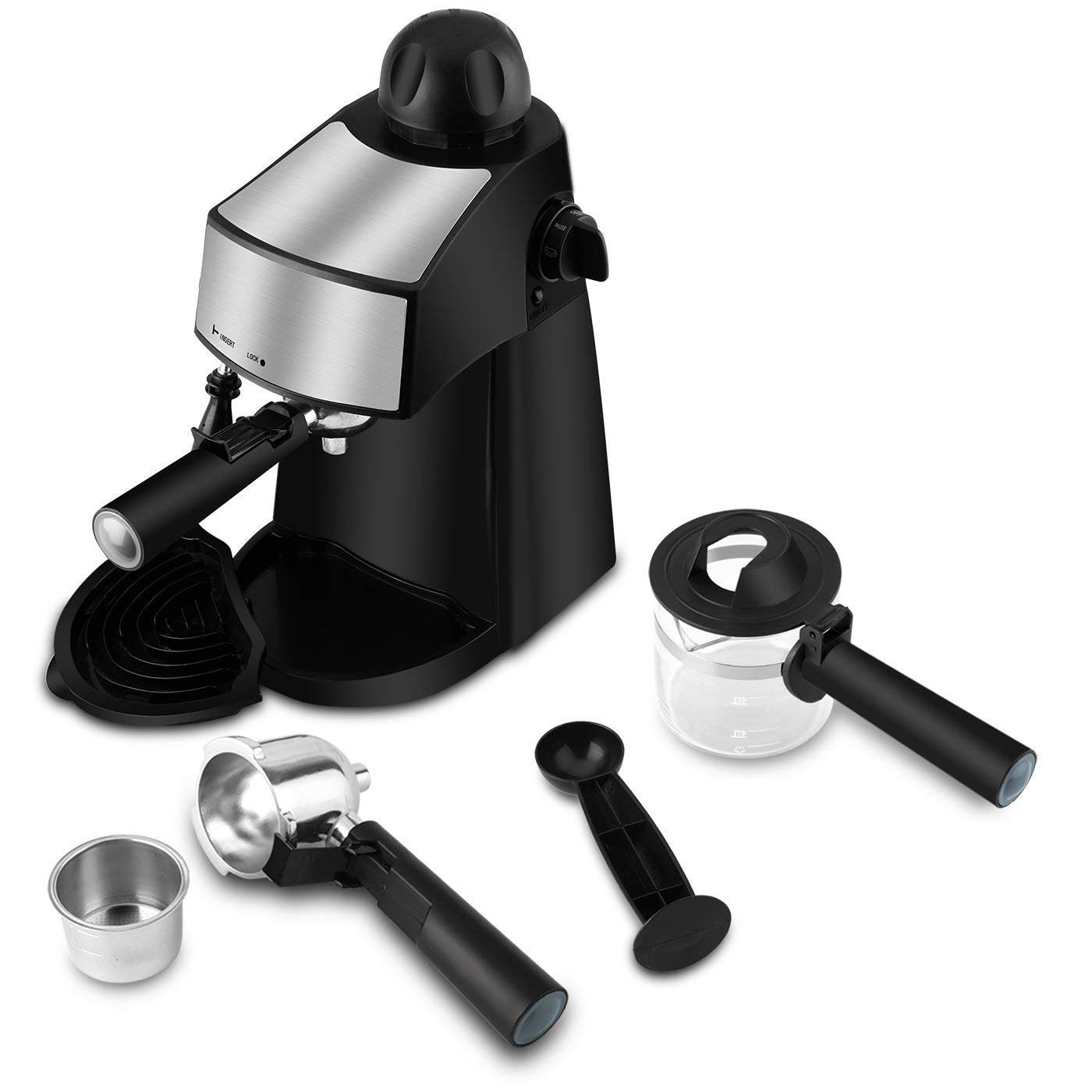 Steam Espresso Machine 800W 4 Cup Stainless Steel Espresso Cappuccino Latte Coffee Maker with Milk Frother and Carafe by SOWTECH (Image #5)