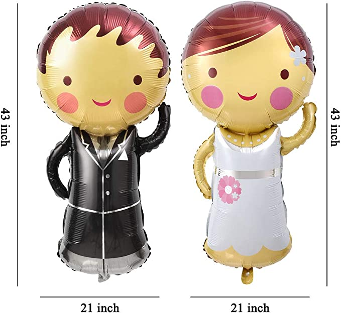 2pcs Bride and Groom Dress Aluminum Foil Balloon Wedding Party Decoration RDR