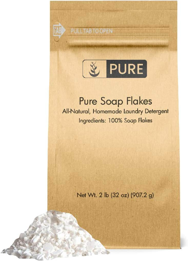 Soap Granule Flakes (2 lb.) by Pure Organic Ingredients, Eco-Friendly Packaging, Ingredient to Make Liquid or Powdered Homemade Laundry Detergent