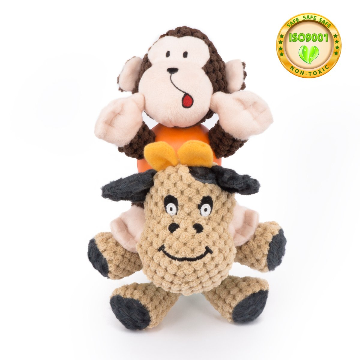 dog squeaky plush chew toyscow monkey shape pet toy with rubber ball body toys for small dogs and catssafety durable materialeasy to cleanfashion cute