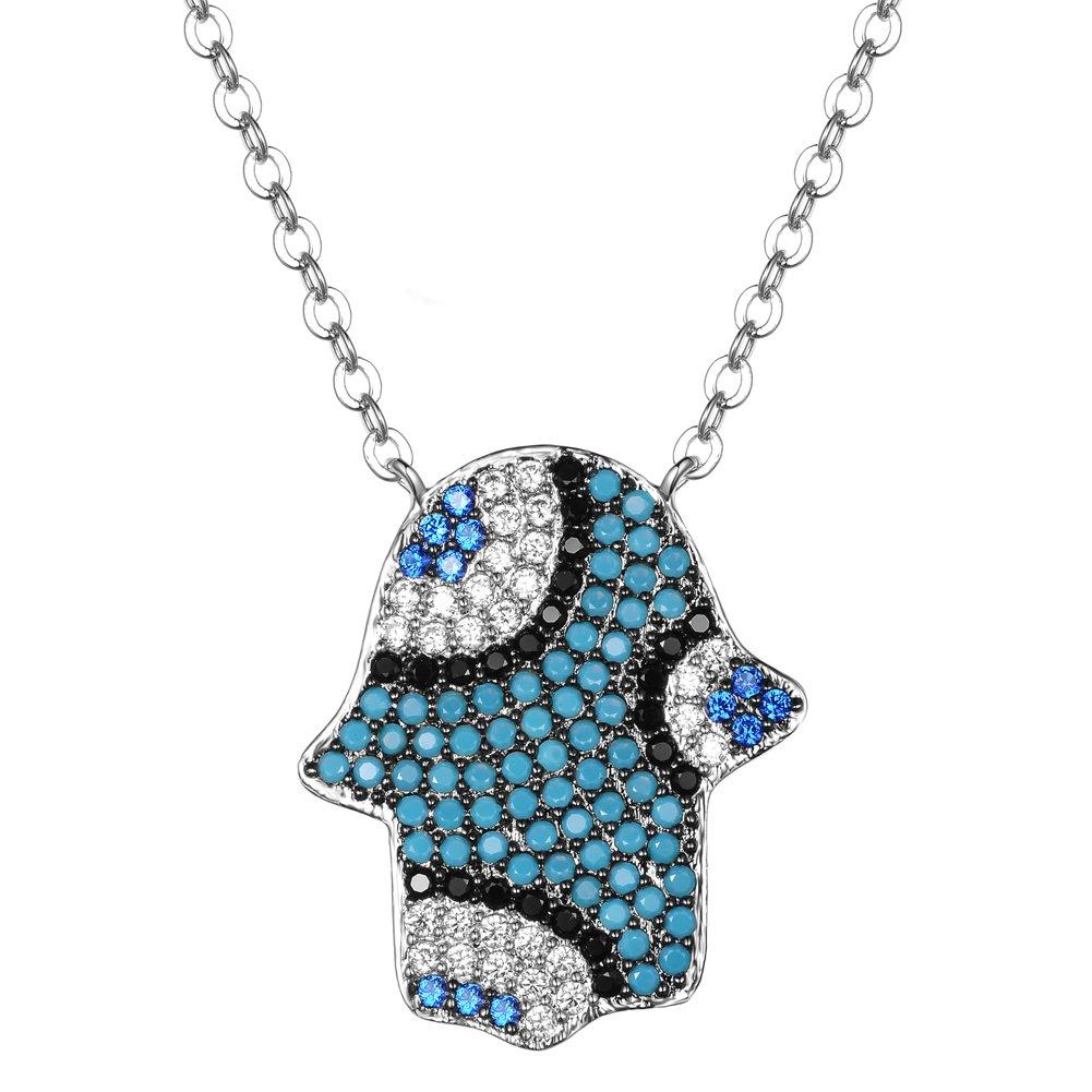KIVN Fashion Jewelry CZ Cubic Zirconia Hamsa Hand Evil Eye Pendant Necklaces for Women