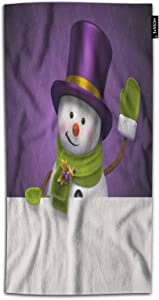 HOSNYE Snowman Hand Towel for Bathroom New Year Christmas Winter Funny Snowman Purple Top Hat Greeting Hello Absorbent Soft Towels for Beach Kitchen Spa Gym Yoga Face Towel