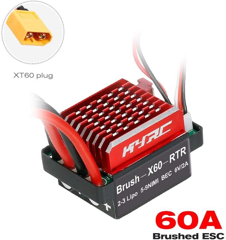 T Male Plug GoolRC 60A ESC RC Car ESC Brushed Electric Speed Controller 6V//2A BEC Replacement for 1//10 RC Car Traxxas TRX-4 TRX-6 D90 HSP Redcat RC 4WD Axial SCX10 HPI DIY RC Car