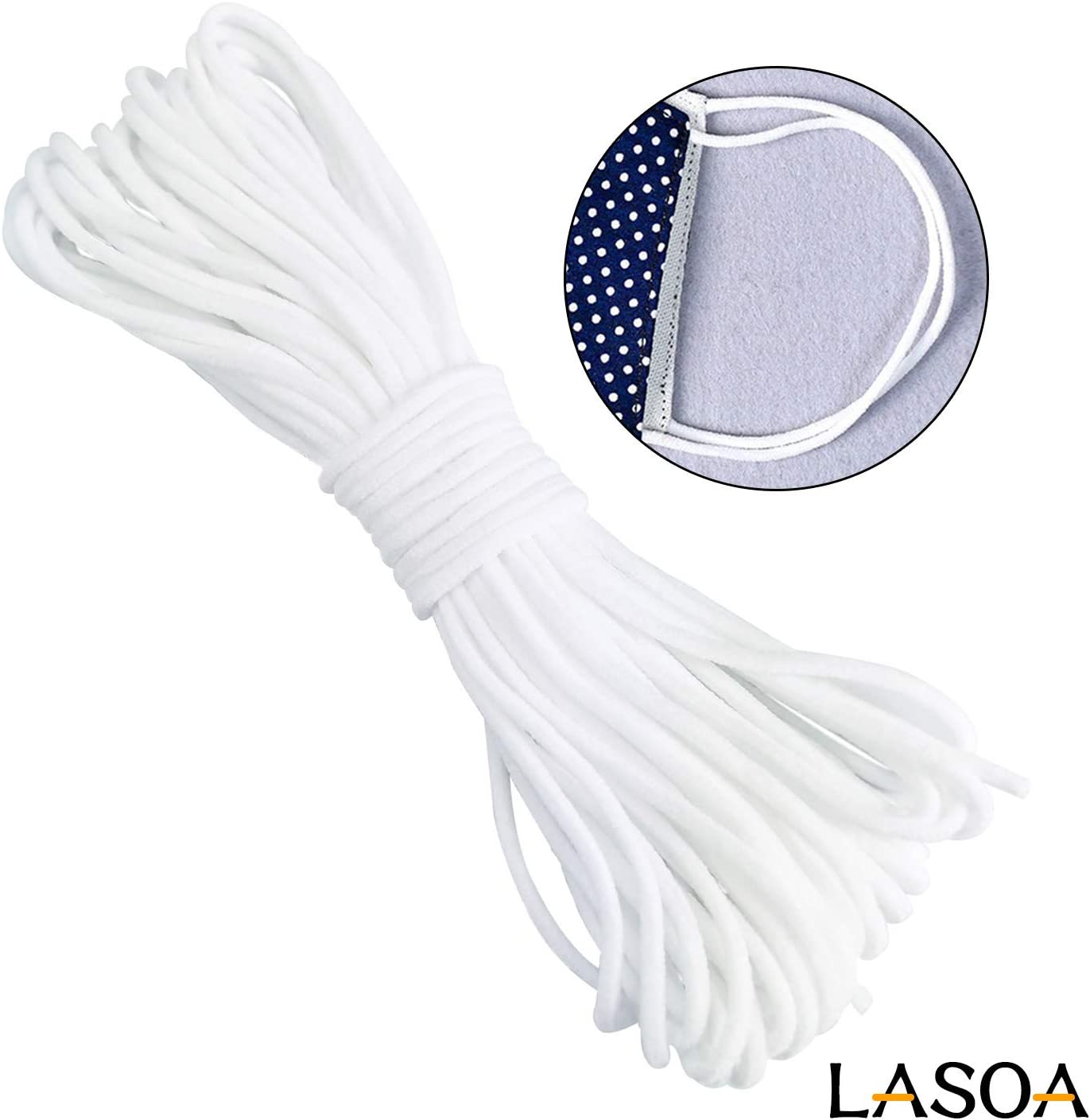 Amazon Com Lasoa Elastic Cord Rope White Band 1 8 Inch Round Ear
