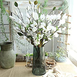Quaanti Artificial Fake Flowers Leaf Magnolia Floral Wedding Bouquet, Artificial Hydrangea Silk Flowers for Wedding Bouquet, Flower Arrangements Party Home Decor (White) 103
