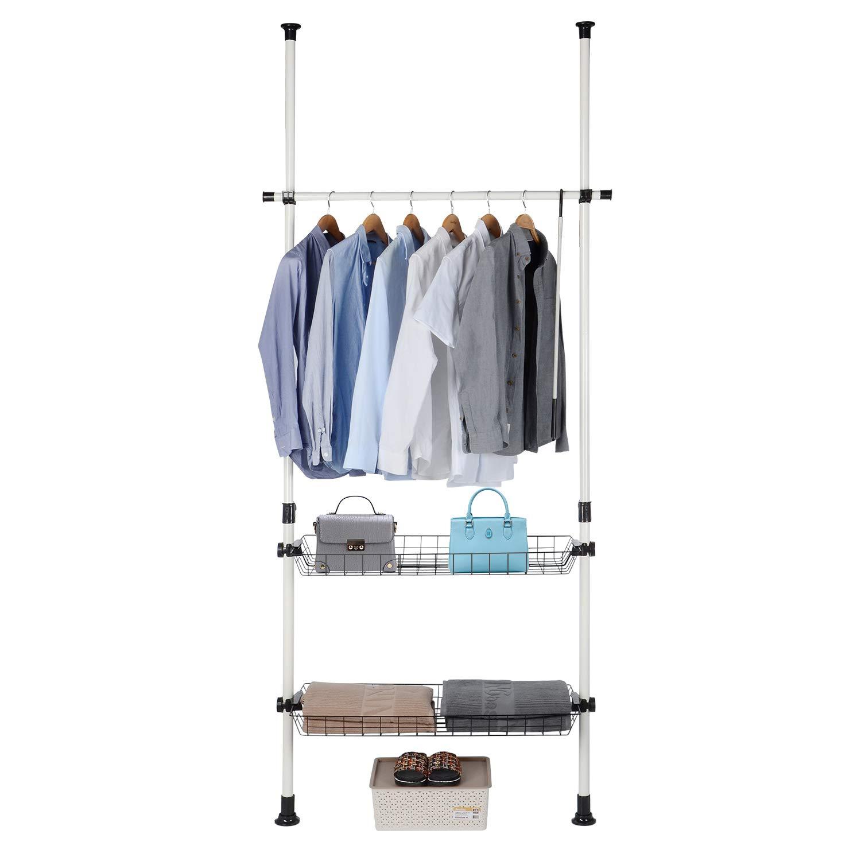 SortWise Portable Indoor Garment Rack - Free DIY Coat Hanger Clothes Wardrobe 2 Poles 1 Hanging Bar 2 Storage Wire Baskets, Horizontal Bar Holds 22lbs, Max Load 44lbs