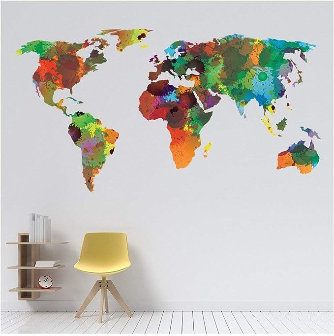 azutura Mapa del Mundo Vinilos Color del Agua Adhesivos Pegatina Pared Art Sala de Estar Decoración Disponible en 8 Tamaños Grande Digital: Amazon.es: Hogar