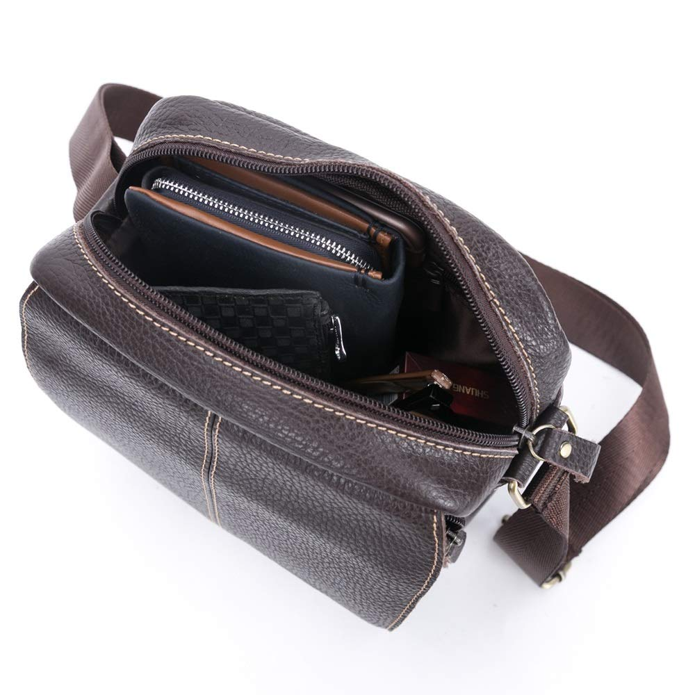 MUMUWU Mens Leather Shoulder Bag Leather Shoulder Crossbody Casual Bag Youth Hooded Leather Sports Bag Color : Brown, Size : M-A