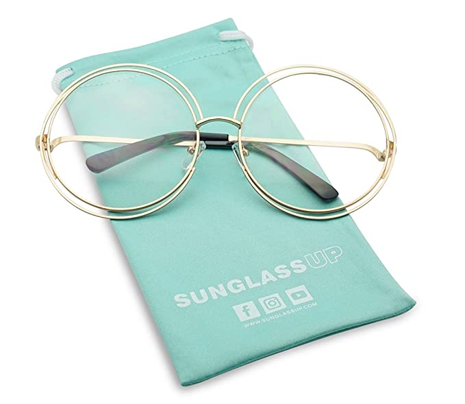 Amazon.com: XL Double Wire Halo Metal Frame Round Circular Clear ...