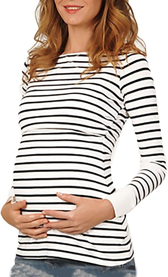Aibrou Camiseta Lactancia Mujer Verano Camisetas Premama Manga Corta Ropa Premam/á Camisetas de Algodon