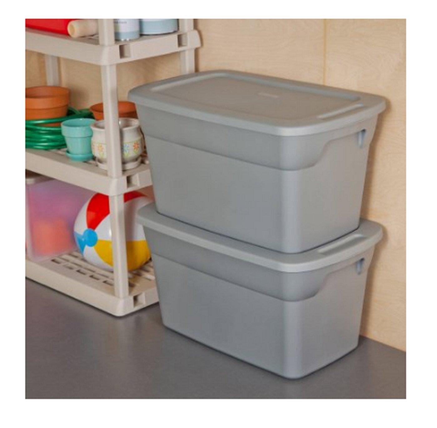 Sterilite 30 Gallon Tote Box- Steel- Case of 6 by STERILITE (Image #2)