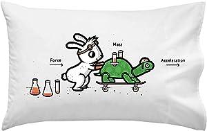 Hat Shark Using Force Funny Bunny Rabbit & Turtle Physics Humor - Pillow Case Single Pillowcase