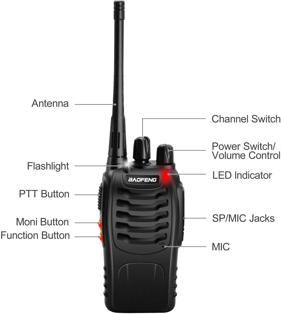 BaoFeng 888S Walkie Talkie 16CH UHF 400-470Mhz Two Way Radio with Earpiece Portable Radio Station Set Handhold Waterproof Transceiver 2 Pack