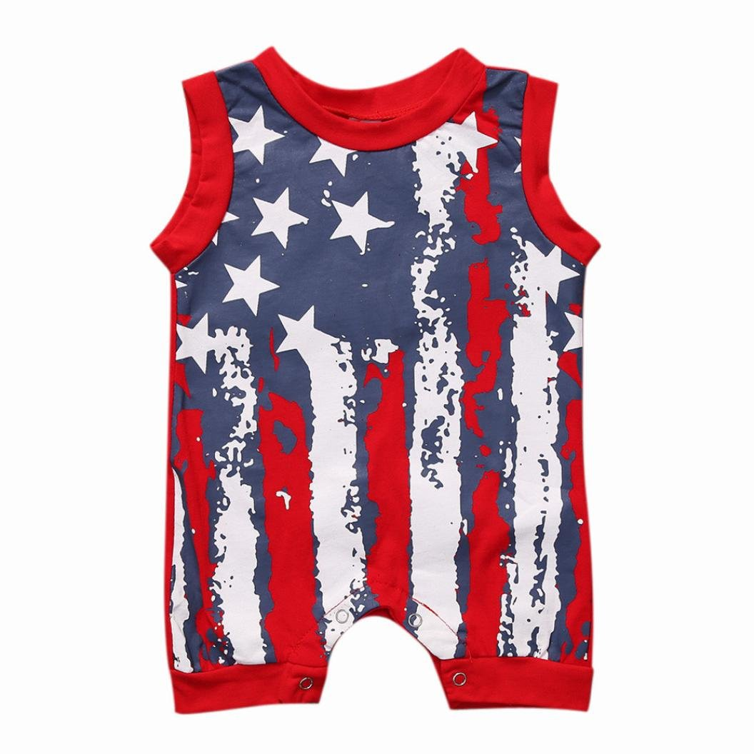 91fdb203a2cfb8 Amazon.com  IEason Newborn Infant Baby Boy Girl 4th of July Stars and  Stripes Romper Clothes Outfit  Clothing