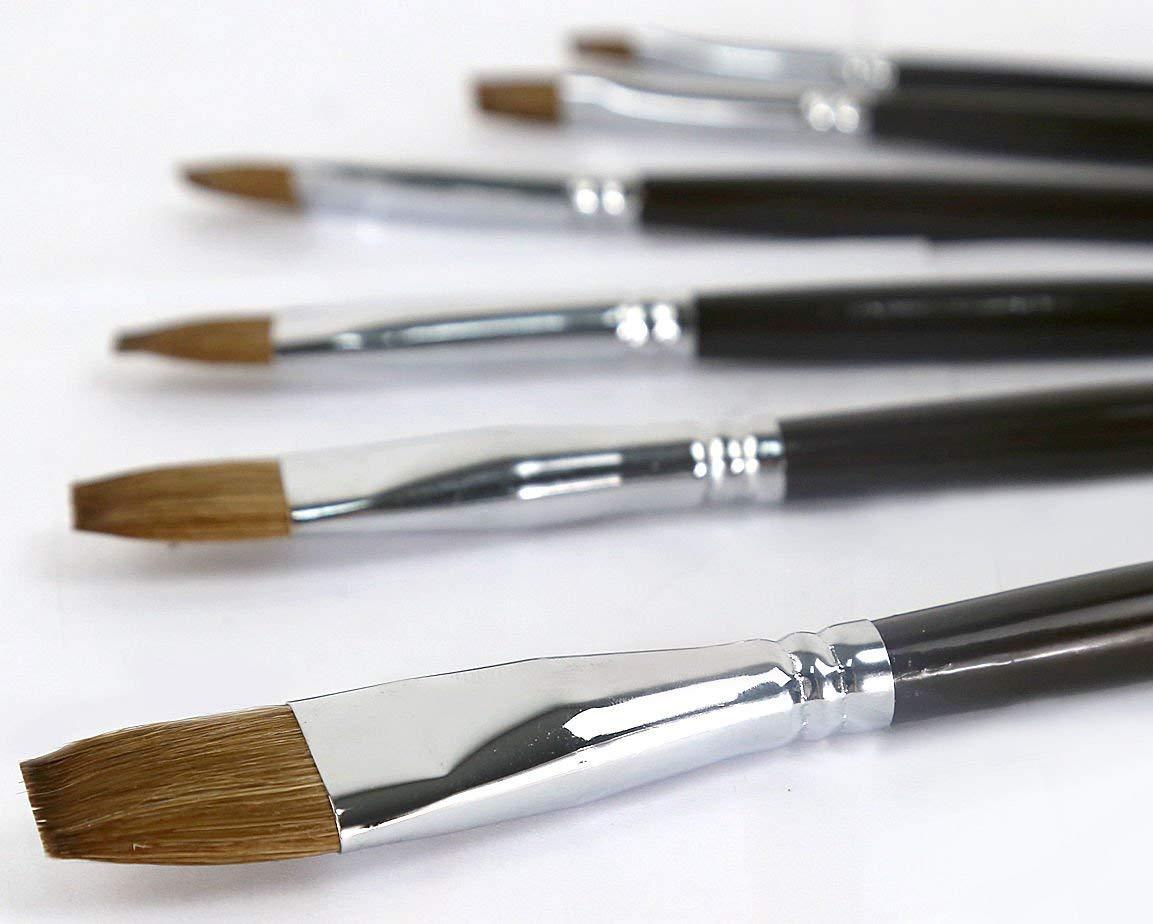 acuarelas al /óleo y Gouache Juego de 6 pinceles para pintura art/ística de Golden Maple; Fino pelo de comadreja roja mango largo de madera flat brushes para pinturas acr/ílicas